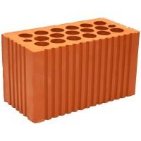 Камень строительный двойной 2НФ керамический красный пустотелый рифленый 250*120*140мм М200 рядовой рабочий щелевой Кашира